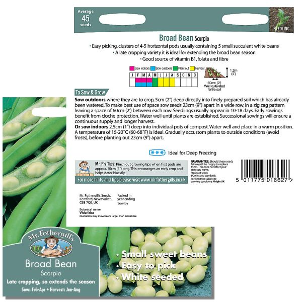 Mr. Fothergill Broad Bean Scorpio Seeds available from Strawberry Garden Centre, Uttoxeter