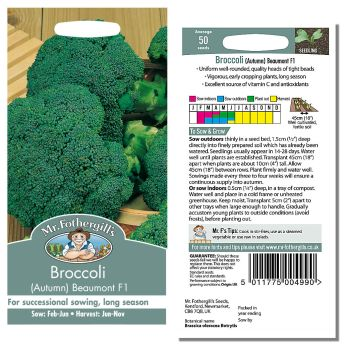 Mr. Fothergill Broccoli Autumn Beaumont F1 Seeds available from Strawberry Garden Centre, Uttoxeter
