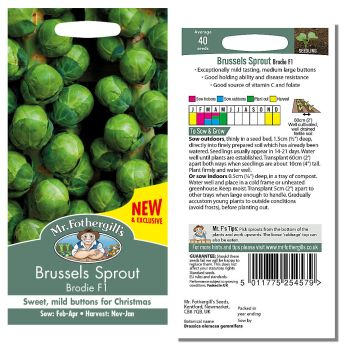 Mr. Fothergill Brussels Sprout Brodie F1 Seeds available from Strawberry Garden Centre, Uttoxeter