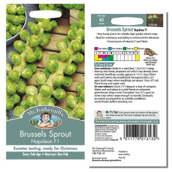 Mr. Fothergill Brussels Sprout Napoleon F1 Seeds available from Strawberry Garden Centre, Uttoxeter