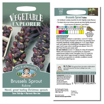 Mr. Fothergill Brussels Sprout Rubine Seeds available from Strawberry Garden Centre, Uttoxeter
