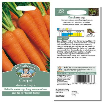 Mr. Fothergill Carrot Autumn King 2 Seeds available from Strawberry Garden Centre, Uttoxeter