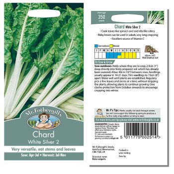 Mr. Fothergill Chard White Silver 2 Seeds available from Strawberry Garden Centre, Uttoxeter