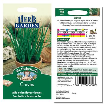 Mr. Fothergill Chives Seeds available from Strawberry Garden Centre, Uttoxeter