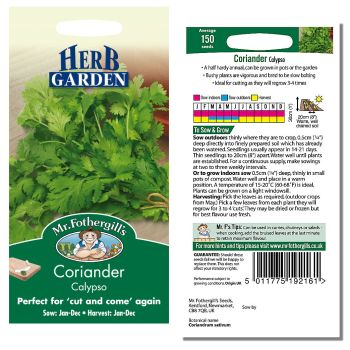 Mr. Fothergill Coriander Calypso Seeds available from Strawberry Garden Centre, Uttoxeter