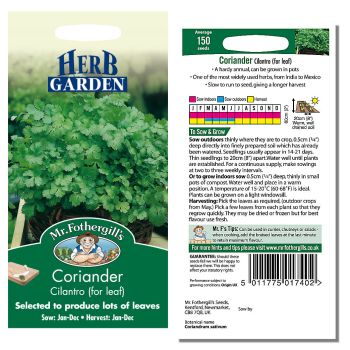 Mr. Fothergill Coriander Cilantro (for leaf) Seeds available from Strawberry Garden Centre, Uttoxeter