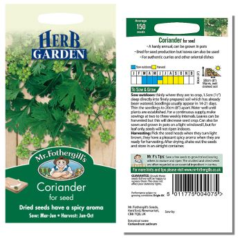 Mr. Fothergill Coriander for Seed Seeds available from Strawberry Garden Centre, Uttoxeter
