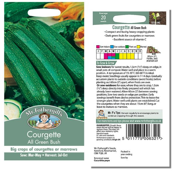 Mr. Fothergill Courgette All Green Bush Seeds available from Strawberry Garden Centre, Uttoxeter