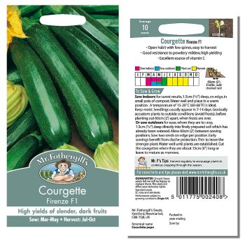 Mr. Fothergill Courgette Firenze F1 Seeds available from Strawberry Garden Centre, Uttoxeter