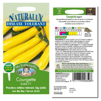 Mr. Fothergill Courgette Soleil F1 Seeds available from Strawberry Garden Centre, Uttoxeter