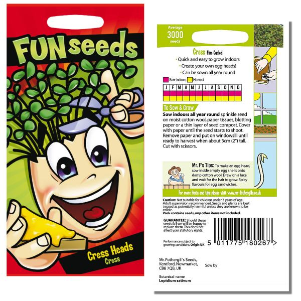 Mr. Fothergill Funseeds Cress Heads Cress Seeds available from Strawberry Garden Centre, Uttoxeter