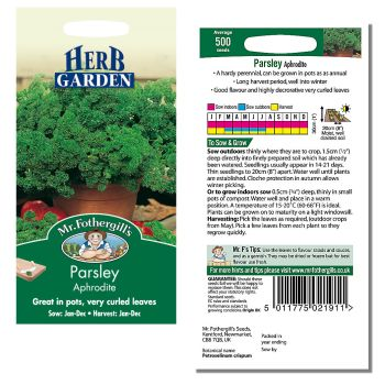 Mr. Fothergill Parsley Aphrodite Seeds available from Strawberry Garden Centre, Uttoxeter