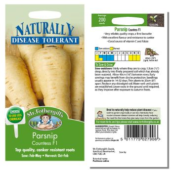 Mr. Fothergill Parsnip Countess F1 Seeds available from Strawberry Garden Centre, Uttoxeter