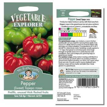 Mr. Fothergill Pepper (swee) Topepo rosso Seeds available from Strawberry Garden Centre, Uttoxeter