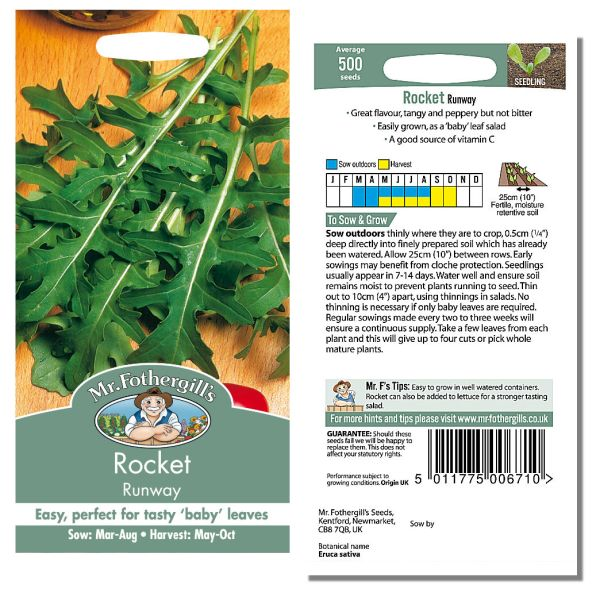 Mr. Fothergill Rocket Runway Seeds available from Strawberry Garden Centre, Uttoxeter