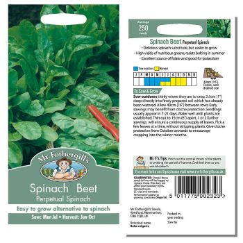 Mr. Fothergill Spinach Beet Perpetual Spinach Seeds available from Strawberry Garden Centre, Uttoxeter