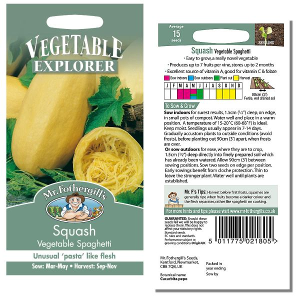 Mr. Fothergill Squash Vegetable Spaghetti Seeds available from Strawberry Garden Centre, Uttoxeter