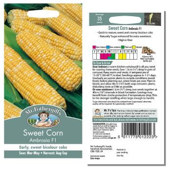 Mr. Fothergill Sweet Corn Ambrosia F1 Seeds available from Strawberry Garden Centre, Uttoxeter