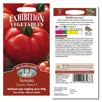 Mr. Fothergill Tomato Country Taste F1 Seeds available from Strawberry Garden Centre, Uttoxeter