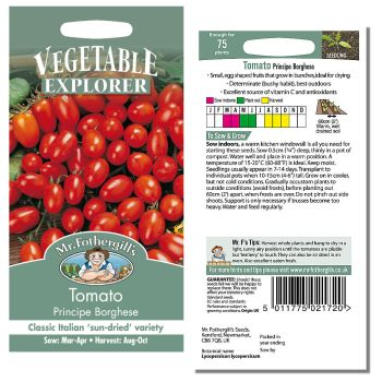 Mr. Fothergill Tomato Green Principe Borghese Seeds available from Strawberry Garden Centre, Uttoxeter