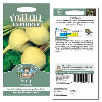 Mr. Fothergill Turnip Petrowski Seeds available from Strawberry Garden Centre, Uttoxeter