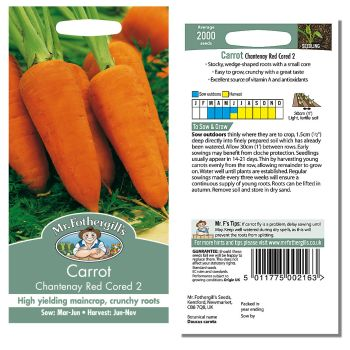 Mr. Fothergill Carrot Chantenay Red Cored 2 Seeds available from Strawberry Garden Centre, Uttoxeter