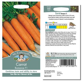 Mr. Fothergill Carrot Romance F1 Seeds available from Strawberry Garden Centre, Uttoxeter