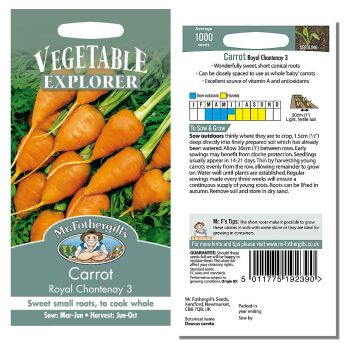 Mr. Fothergill Carrot Royal Chantenay 3 Seeds available from Strawberry Garden Centre, Uttoxeter