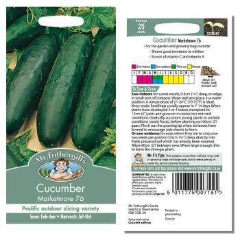 Mr. Fothergill Cucumber Marketmore 76 Seeds available from Strawberry Garden Centre, Uttoxeter