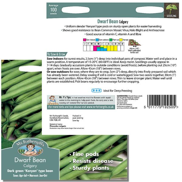 Mr. Fothergill Dwarf Bean Calgary Seeds available from Strawberry Garden Centre, Uttoxeter
