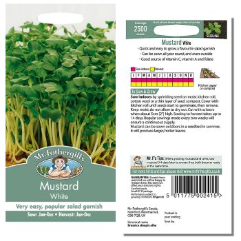 Mr. Fothergill Mustard White Seeds available from Strawberry Garden Centre, Uttoxeter