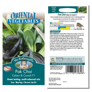 Mr. Fothergill Pak Choi Colour & Crunch F1 Seeds available from Strawberry Garden Centre, Uttoxeter