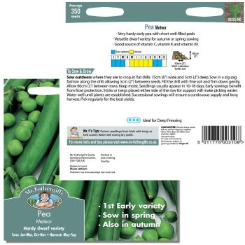 Mr. Fothergill Pea Meteor Seeds available from Strawberry Garden Centre, Uttoxeter