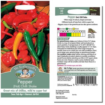 Mr. Fothergill Pepper Hot Chilli Shake Seeds available from Strawberry Garden Centre, Uttoxeter