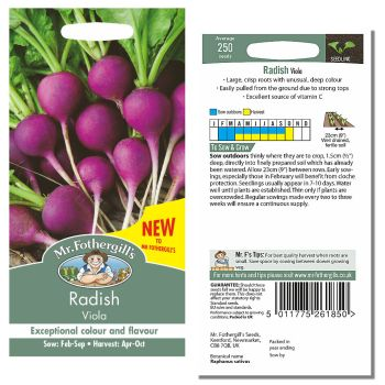 Mr. Fothergill Radish Viola Seeds available from Strawberry Garden Centre, Uttoxeter