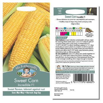 Mr. Fothergill Sweet Corn Incredible F1 Seeds available from Strawberry Garden Centre, Uttoxeter