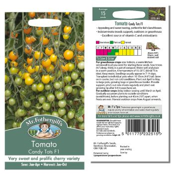 Mr. Fothergill Tomato Candy Tots F1 Seeds available from Strawberry Garden Centre, Uttoxeter