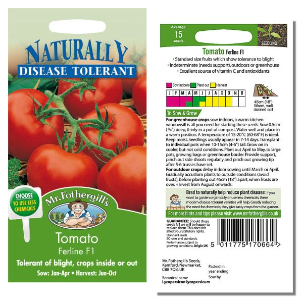 Mr. Fothergill Tomato Ferline F1 Seeds available from Strawberry Garden Centre, Uttoxeter