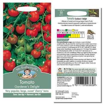 Mr. Fothergill Tomato Gardeners Delight Seeds available from Strawberry Garden Centre, Uttoxeter