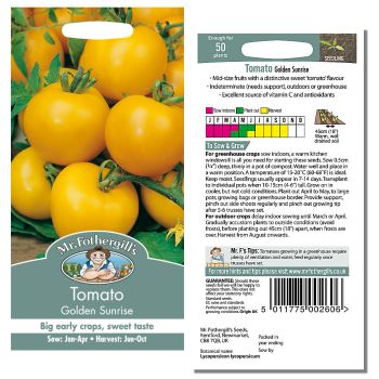 Mr. Fothergill Tomato Golden Sunrise Seeds available from Strawberry Garden Centre, Uttoxeter
