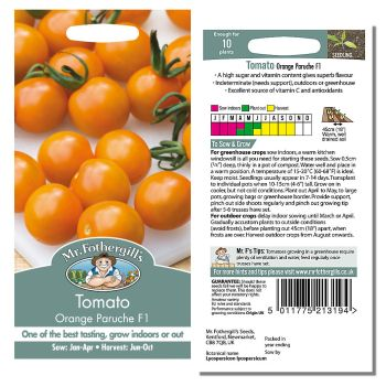 Mr. Fothergill Tomato Orange ParucheF1 Alfalfa Seeds available from Strawberry Garden Centre, Uttoxeter