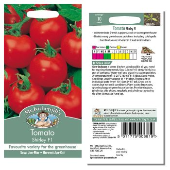 Mr. Fothergill Tomato Shirley F1 Seeds available from Strawberry Garden Centre, Uttoxeter