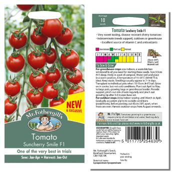Mr. Fothergill Tomato Suncherry Smile F1 Seeds available from Strawberry Garden Centre, Uttoxeter