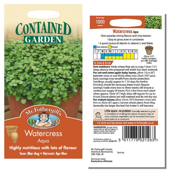 Mr. Fothergill Watercress Aqua Seeds available from Strawberry Garden Centre, Uttoxeter