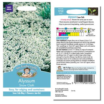Mr. Fothergill Alyssum Snow Cloth Seeds available from Strawberry Garden Centre, Uttoxeter