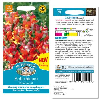 Mr. Fothergill Antirrhinum Rembrandt Seeds available from Strawberry Garden Centre, Uttoxeter