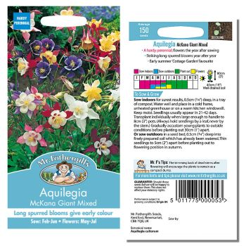 Mr. Fothergill Aquilegia McKana Giant Mixed Seeds available from Strawberry Garden Centre, Uttoxeter
