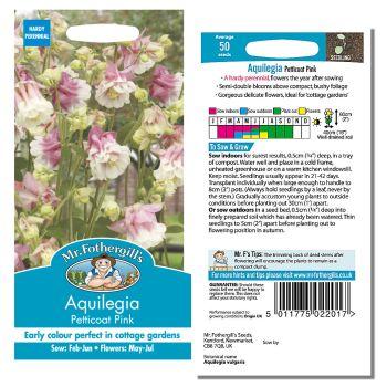 Mr. Fothergill Aquilegia Petticoat Mixed Seeds available from Strawberry Garden Centre, Uttoxeter