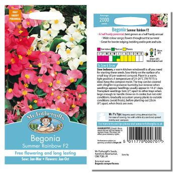 Mr. Fothergill Begonia Summer Rainbow F2 Seeds available from Strawberry Garden Centre, Uttoxeter