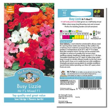 Mr. Fothergill Busy Lizzie Mr F's Mixed F1 Seeds available from Strawberry Garden Centre, Uttoxeter